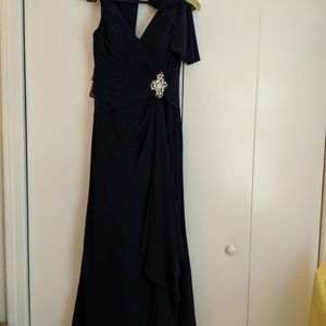 Blue Jovani Long Gown with Purse Size 4